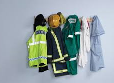 police, fire, ambulance, doctor, nurse, uniforms hanging up
